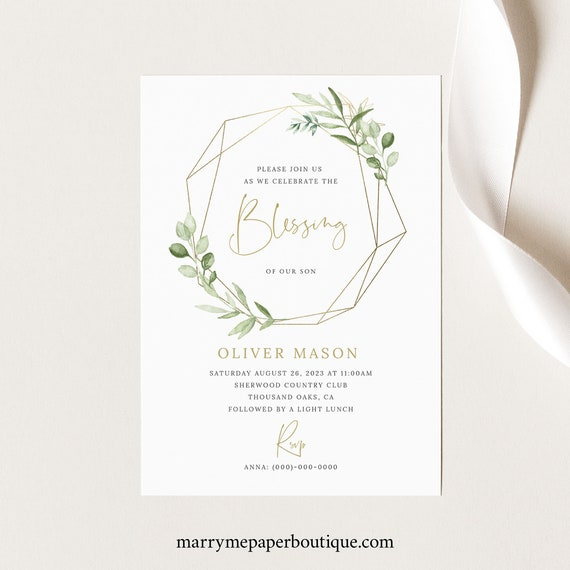 Blessing Ceremony Invitation Card Template, Greenery Gold, Baby Blessing Invitation Card, Printable, Editable, Templett INSTANT Download