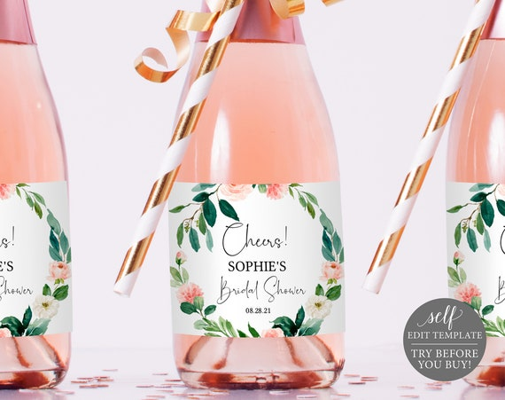 Champagne Bottle Label Template, Pink Floral Greenery, TRY BEFORE You BUY, 100% Editable Instant Download