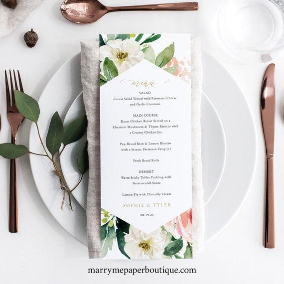 Floral Wedding Menu Template, Wedding Menu Printable, Blush & White Flowers, Templett, Editable, INSTANT Download