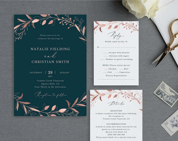 Wedding Invitation Set Templates, Fully Editable Instant Download, Rose Gold Navy, TRY BEFORE You BUY