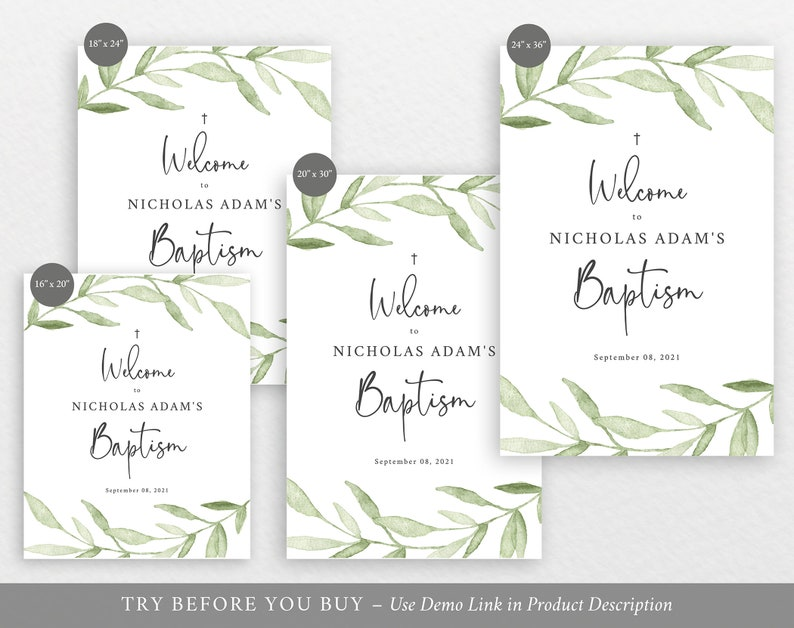 Editable Instant Download Baptism Welcome Sign Template Greenery Leaves TRY BEFORE You BUY