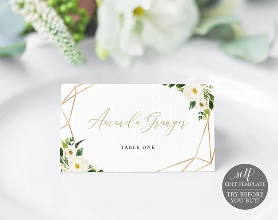 Place Card Template, Fully Editable Instant Download, TRY BEFORE You BUY, White Floral Geometric