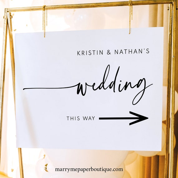 Wedding Direction Sign Template, Modern Contemporary, Directional Sign Printable, Wedding Direction Arrow Sign, Templett INSTANT Download