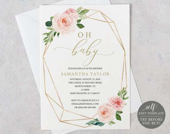 Baby Shower Invitation Template, 100% Editable Template, Instant Download, Printable Baby Shower Invite, Blush & Gold, TRY BEFORE You BUY