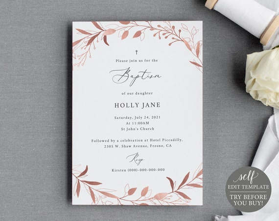Baptism Invitation Template, Rose Gold Leaf, TRY BEFORE You BUY, Fully Editable Instant Download