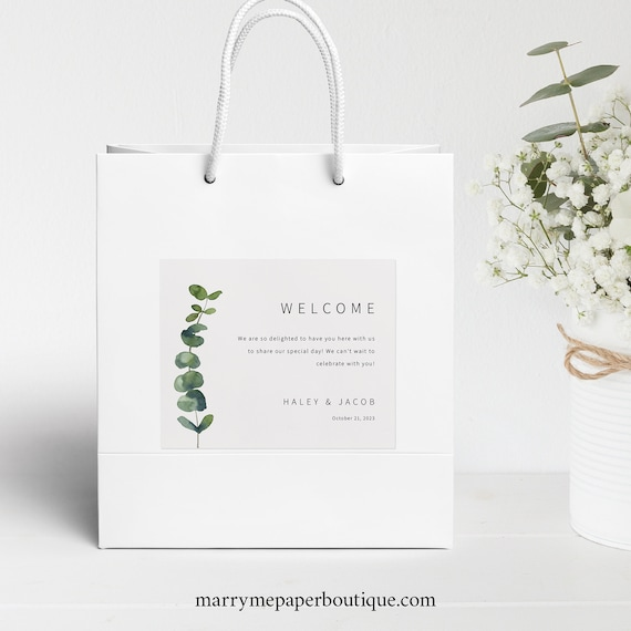 Wedding Guest Welcome Bag Label Template, Elegant Eucalyptus, Printable Hotel Guest Bag Label, Editable, Templett INSTANT Download