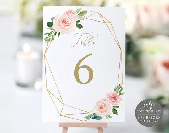 Wedding Table Number Template, TRY BEFORE You BUY, Fully Editable Instant Download, Blush Floral