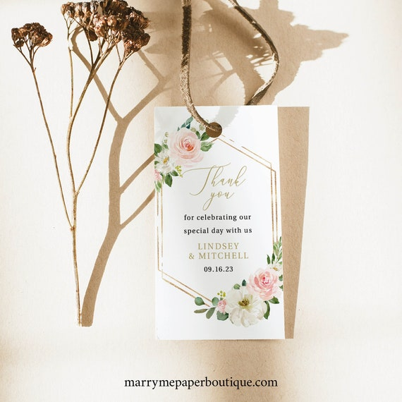 Favor Tag Template, Editable Instant Download, Blush Floral Hexagonal, TRY BEFORE You BUY