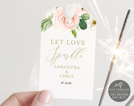 Sparkler Tag Template, Editable Instant Download, TRY BEFORE You BUY, Blush Floral Geometric