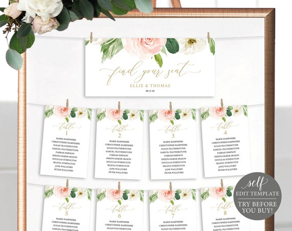 Seating Chart Sign Template, TRY BEFORE You BUY, Blush Floral Cards, Editable Instant Download