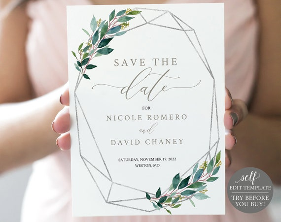 Save the Date Template, Silver & Greenery, Templett, TRY BEFORE You Buy, Editable Printable Instant Download