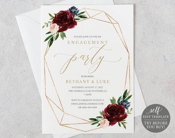 Engagement Party Invitation Template, Burgundy Geometric, Templett, Editable & Printable Instant Download, TRY Before You Buy