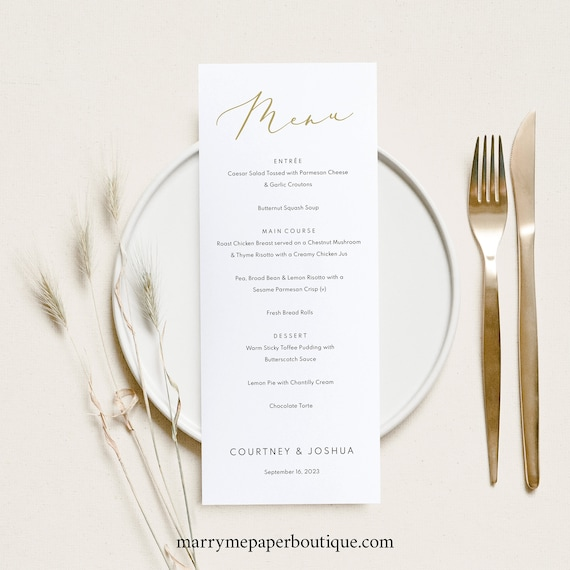 Wedding Menu Template, Demo Available, Editable & Printable Instant Download, Pretty Font Gold