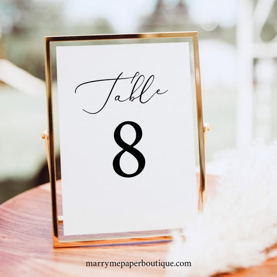 Table Number Template,  Editable Template, TRY BEFORE You BUY, Elegant Wedding Table Numbers Printable, Instant Download