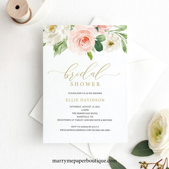 Bridal Shower Invitation Template, TRY BEFORE You BUY, Instant Download,  Editable Invite, Blush and Gold Floral Invitation Printable