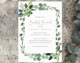 Bridal Brunch Invitation Template, Lush Greenery, Bridal Shower Brunch Invite, Printable, Editable, Templett INSTANT Download