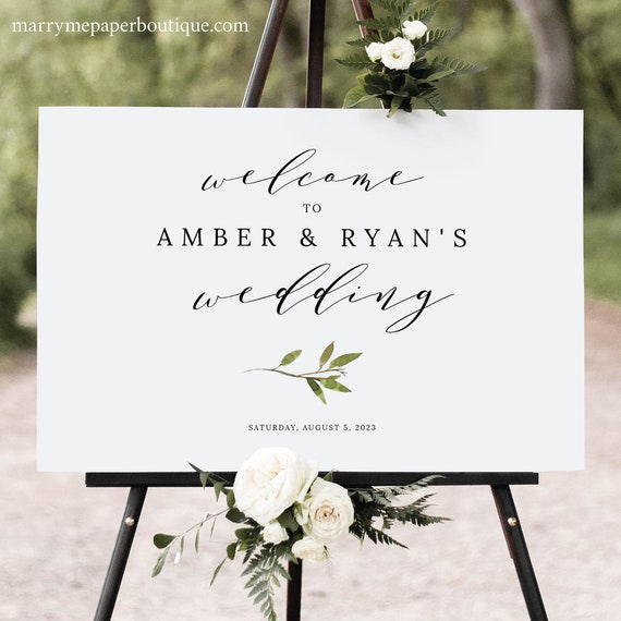 Wedding Welcome Sign Template, Elegant Green Leaf, Welcome To Our Wedding Sign, Printable, Editable, Templett INSTANT Download, Horizontal