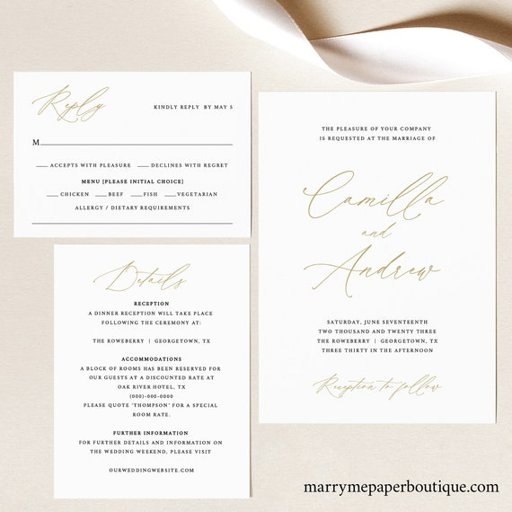 Wedding Invitation Templates, Free Demo Available, Printable Editable Instant Download, Stylish Gold Script