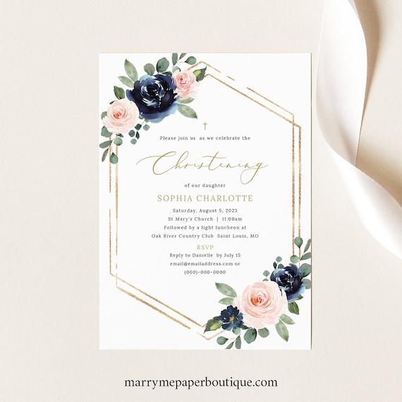 Christening Invitation Template, Navy & Blush Floral, Christening Invite Printable, Editable, Templett INSTANT Download
