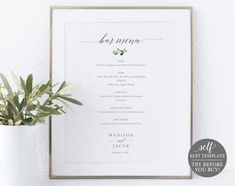Bar Menu Sign Template, Greenery Leaf,  Drinks Menu Printable, Editable, Templett INSTANT Download