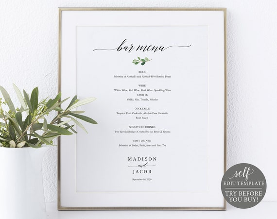 Bar Menu Sign Template, Greenery Leaf, 100% Editable Instant Download, TRY BEFORE You BUY