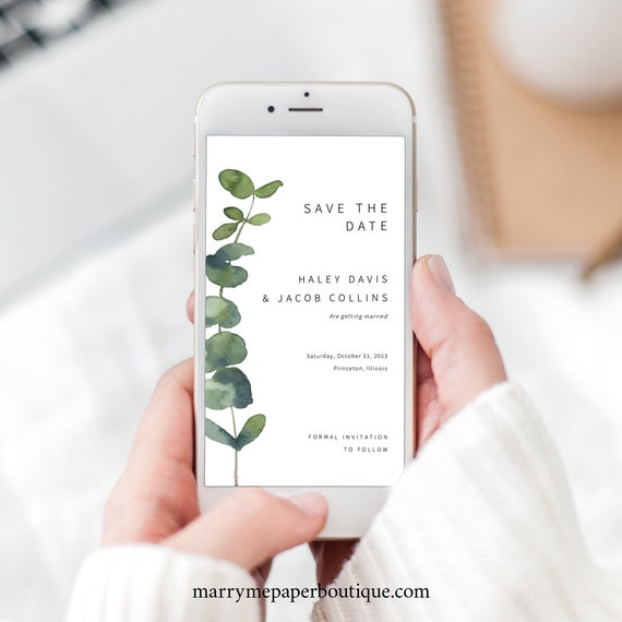 Save the Date Text Invite Template, Elegant Eucalyptus, Digital Save the Date Invitation, Electronic, Greenery, Templett INSTANT Download