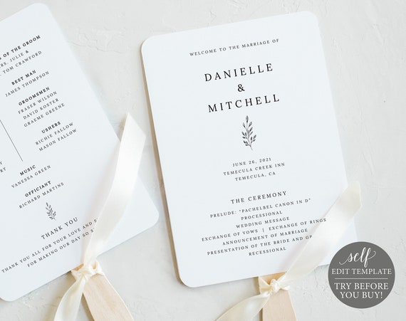 Wedding Program Fan Template, Editable Instant Download, TRY BEFORE You BUY, Formal Botanical