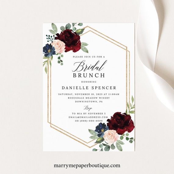 Bridal Brunch Invitation Template, Burgundy Navy, Printable Bridal Shower Brunch Invite, Editable, Templett INSTANT Download