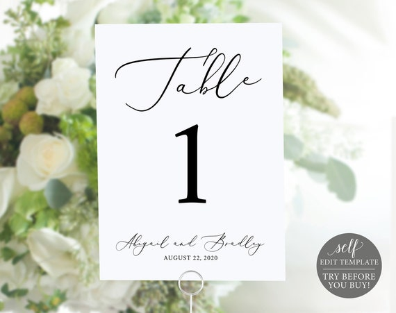 Table Number Template, 100% Editable Template, TRY BEFORE You BUY, Elegant Wedding Table Numbers Printable, Instant Download