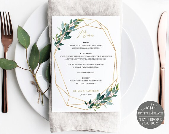 TRY BEFORE You BUY! Wedding Menu Template 5x7, Instant Download, 100% Editable Menu Printable