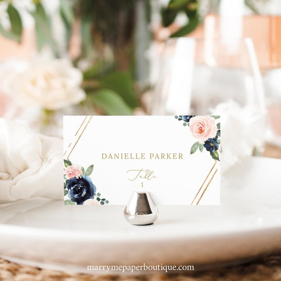 Wedding Place Card Template, Navy & Blush Floral, Flat Place Cards, Tent Place Cards, Printable, Editable, Templett INSTANT Download