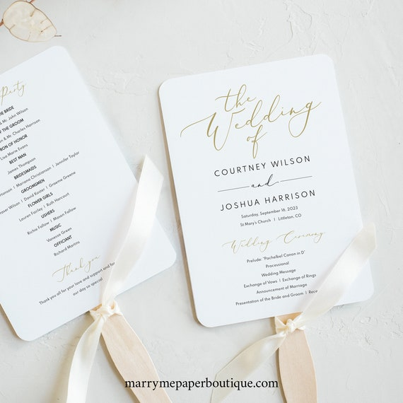 Wedding Program Fan Template, Printable Editable Instant Download, Demo Available, Elegant Gold