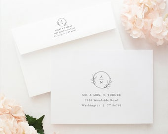 Wedding Envelope Address Template, Templett Instant Download, Fully Editable, Try Before Purchase, Circle Monogram