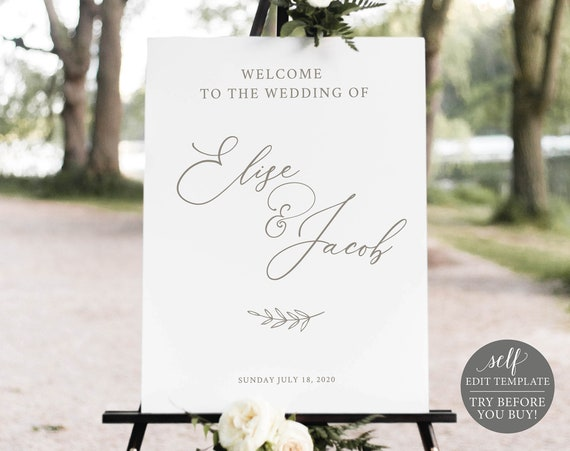 Wedding Welcome Sign Template, Elegant Font, TRY BEFORE You BUY, Editable Instant Download