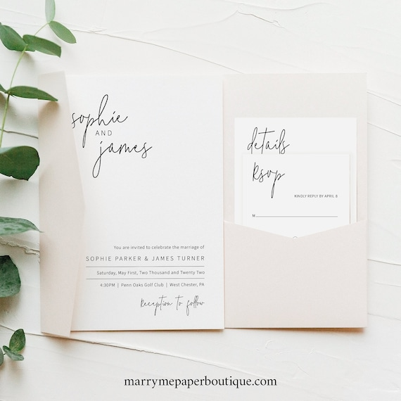 Wedding Invitation Template Set, Minimalist Elegant, Pocket Style, Editable & Printable Instant Download, Try Before Purchase