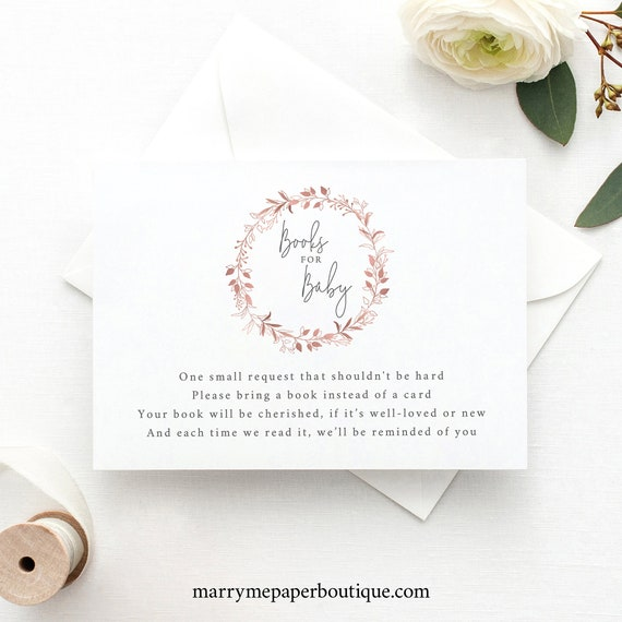 Pretty Rose Gold Books for Baby Template, Fully Editable Insert Card, Printable, Try Before Purchase, Templett Instant Download