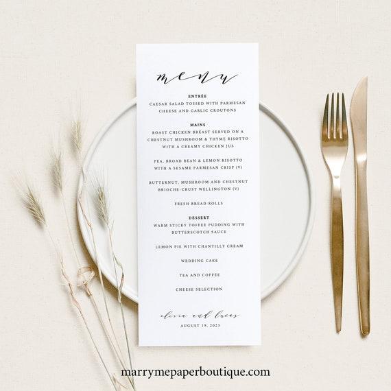 Wedding Menu Template, TRY BEFORE You BUY,  Editable Text, Printable Menu Card, Elegant Dinner Menu, Self Edit, Instant Download