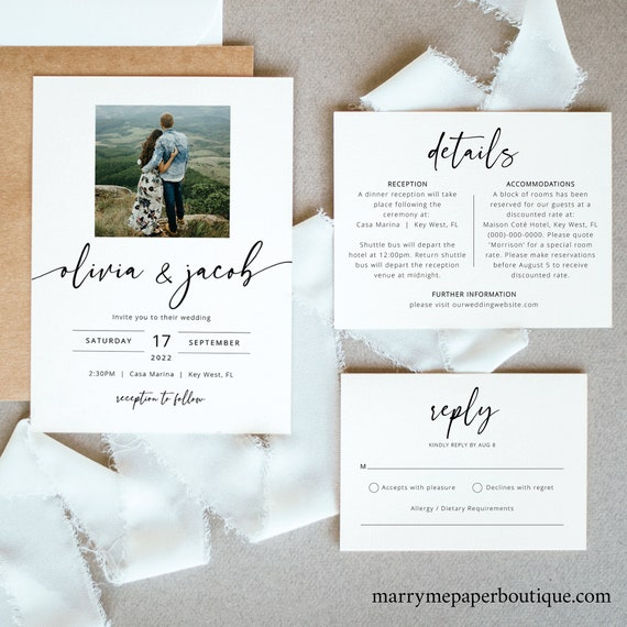 Modern Wedding Invitation Set Templates, Photo Wedding Invitation Printable, Details & RSVP, Templett Instant Download, Try Before Purchase