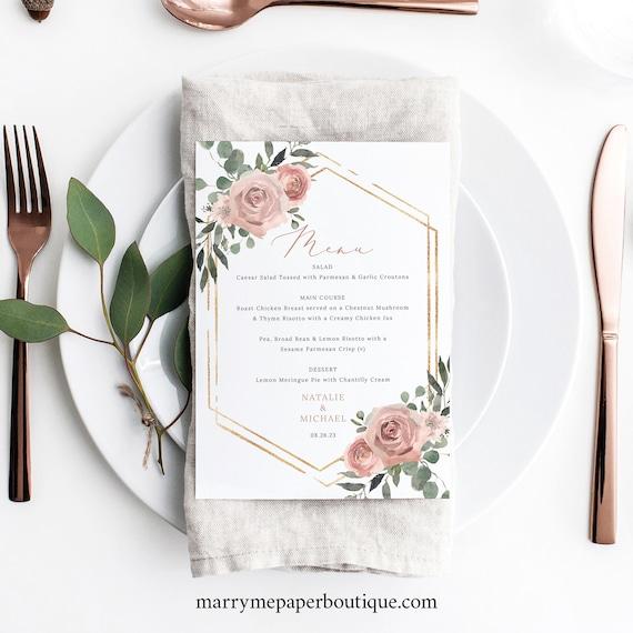 Wedding Menu Template, Dusky Pink Floral, Boho Wedding, 5x7 Dinner Menu Card, Printable, Templett INSTANT Download