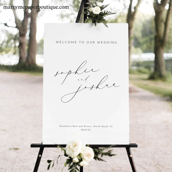 Wedding Welcome Sign Template, Luxury Calligraphy, Vertical, Welcome To Our Wedding Sign, Elegant, Printable, Templett INSTANT Download