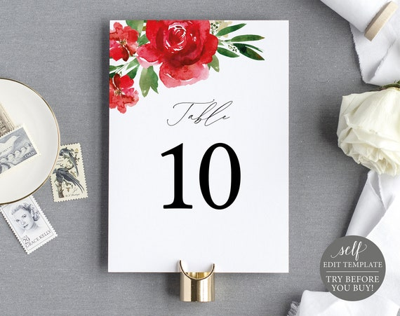 Table Number Template, Red Floral, Free Demo Available, Editable Instant Download
