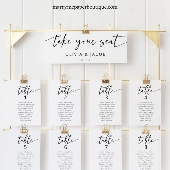 Wedding Seating Chart Cards Template, Modern Calligraphy, Editable & Printable, Templett Instant Download, Try Before You Buy