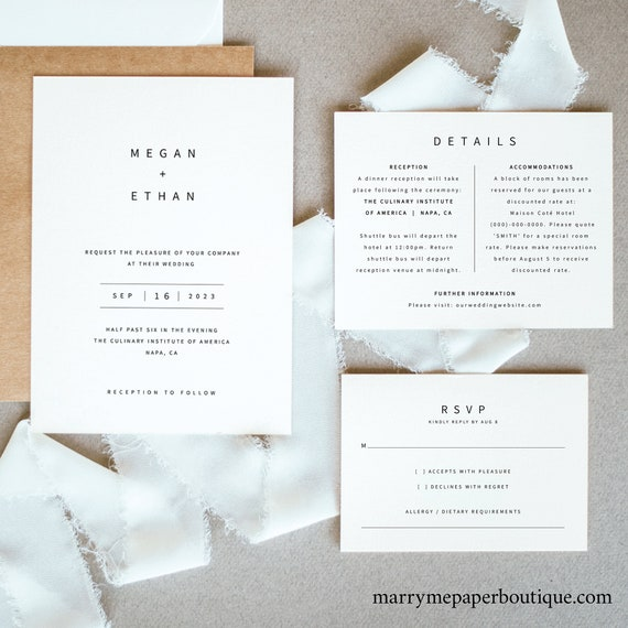 Minimalist Wedding Invitation Template Set, Modern Invitation Printable, Details & RSVP, Templett Instant Download, Try Before Purchase
