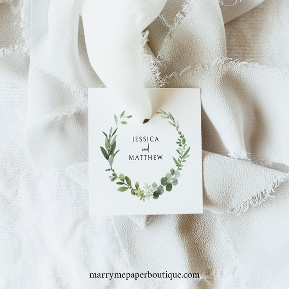 Square Tag Template, Fully Editable Square Label Printable, Templett Instant Download, Demo Available, Elegant Greenery