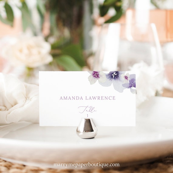 Wedding Place Card Template, Delicate Lilac Flowers, Flat & Tent Place Cards, Printable, Purple Hydrangea, Templett INSTANT Download