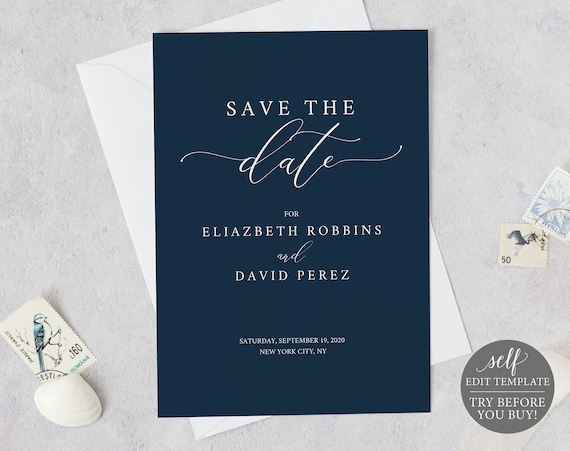 Save the Date Card Template, Fully Editable, Instant Download, Navy, TRY BEFORE You BUY!