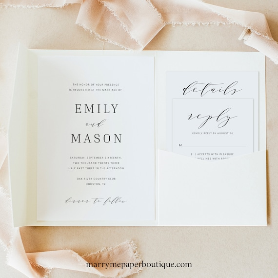 Wedding Invitation Template Suite, Formal & Elegant, Try Before Purchase, Pocketfold Style, Editable Printable Instant Download