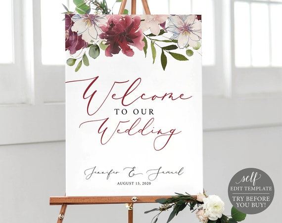 Welcome Sign Template, 100% Editable, Wedding Welcome Sign Printable, Instant Download, Burgundy Floral, Self-Edit, TRY BEFORE You Buy