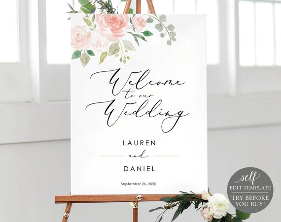 Floral Welcome to Our Wedding Sign Template, Printable Welcome to Our Wedding Sign, Editable Wedding Sign, Instant Download, MM08-3