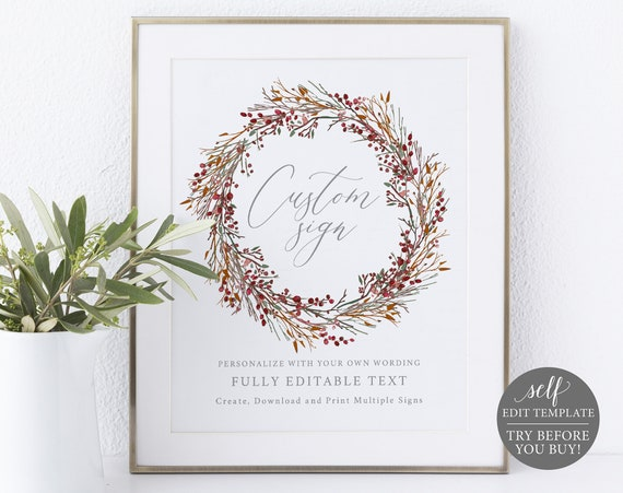 Create MULTIPLE Wedding Signs Template, 100% Editable, Try Before You Buy, Instant Download